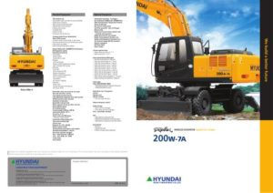 Hyundai Wheel Excavator Robex 200W-7 R200W-7 Workshop Service Manual